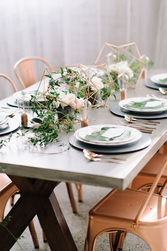 modern + industrial wedding inspiration   featured on 100 layer cake   » Luxe & Luna Couture Events