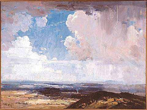 ARTHUR STREETON THE CLOUD, 1936 Also known as 'STORM OVER MACEDON' oil on canvas 84.4 x 110.8