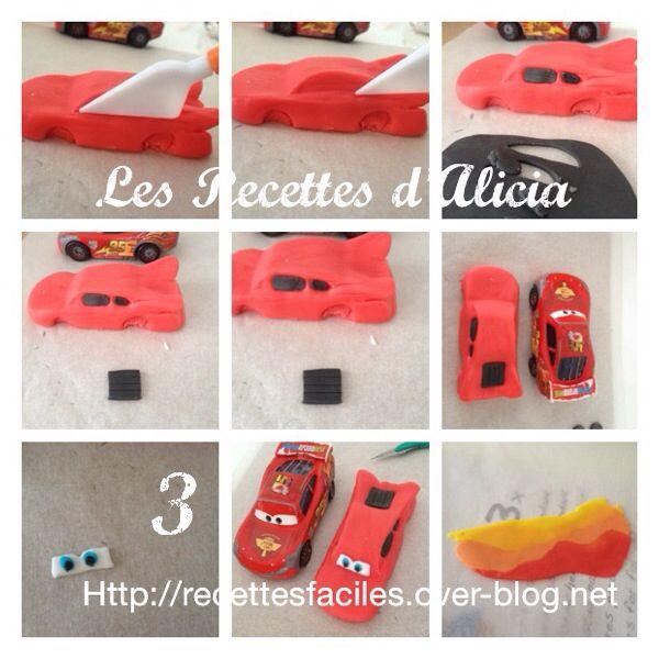 tutoriel flash mc queen tuto cars disney flash mc queen voiture pate a sucre cake design - Pate A Sucre Colore