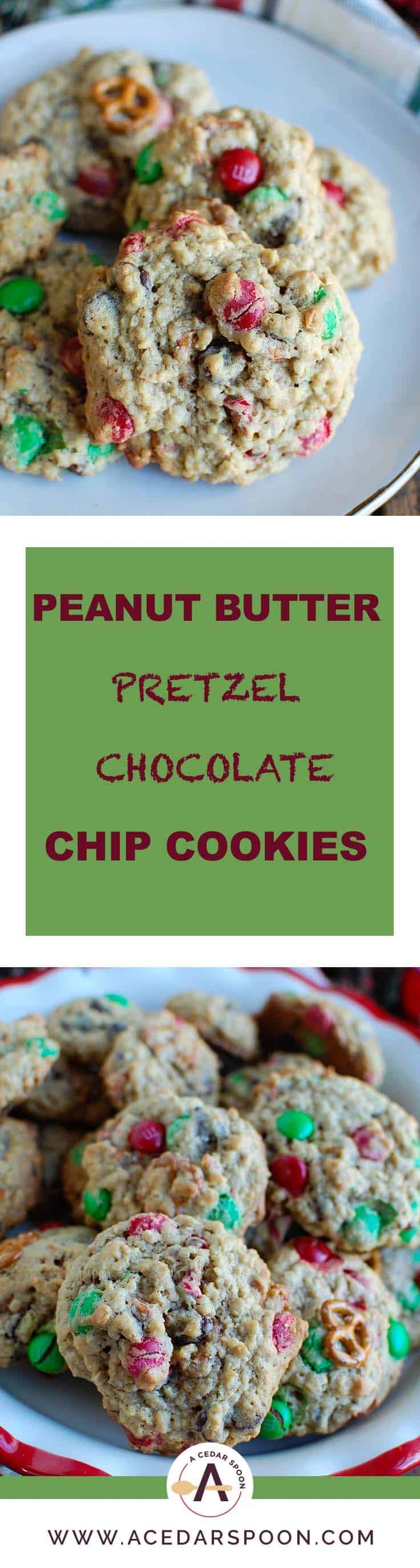Peanut Butter Pretzel Chocolate Chip Cookies are made with creamy peanut butter and oats and loaded with pretzels, M & Ms and chocolate chips.These are a festive holiday cookie or perfect for any time of the year.