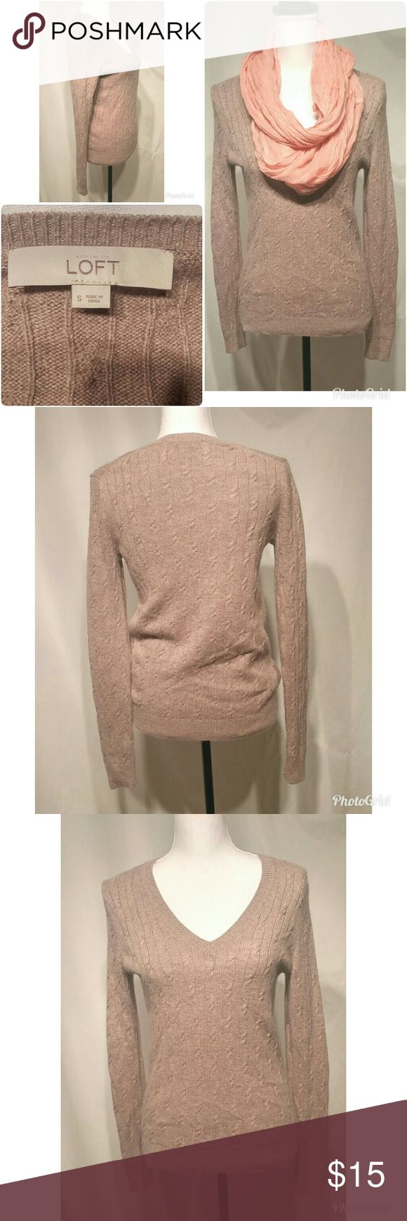 Anne Taylor Loft Beige V -Neck Sweater Beautiful long sleeve Brown/beige v neck women's sweater made by Anne Taylor Loft. EUC, no stains, rips, or holes. Great piece to add to your wardrobe! Ann Taylor Sweaters V-Necks