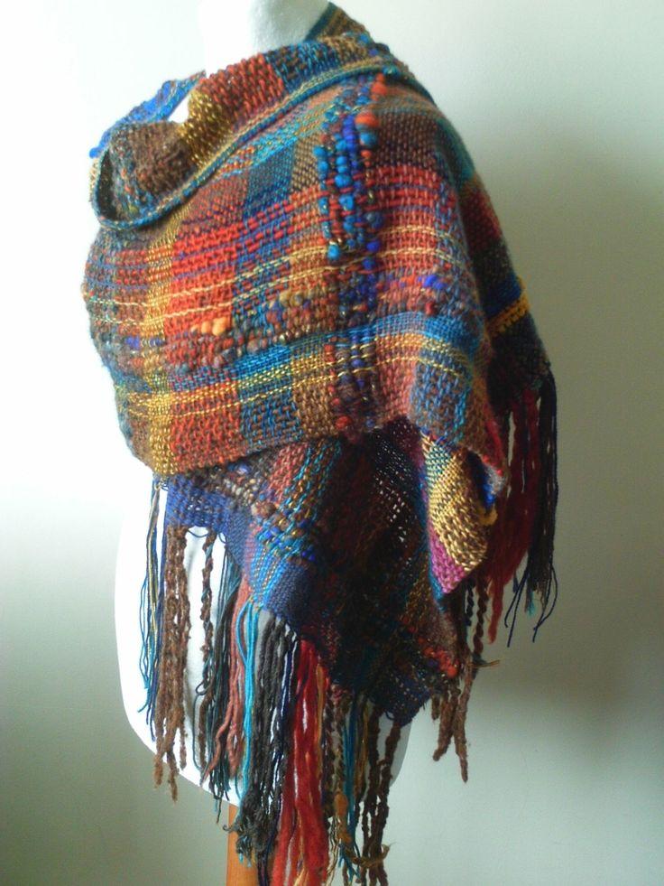 Unique Handwoven Shawl - Woven Shawl - Hand Weaving - Rustic - Saori Weaving - Art Shawl - Shawl - Blue Orange Brown - Ready to Ship by TheYarnarchist on Etsy https://www.etsy.com/uk/listing/467682583/unique-handwoven-shawl-woven-shawl-hand