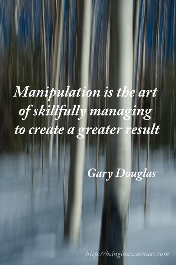 Manipulation is the art of skillfully managing to create a greater result (Gary Douglas)