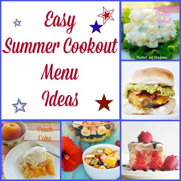 Collage of summer recipes for potlucks and cookouts