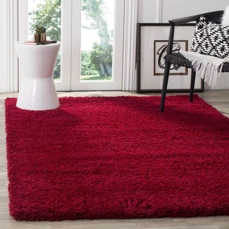 Safavieh California Cozy Plush Red Shag Rug (3' x 5') (SG151-4040-3), Size 3' x 5' (Polypropylene, Solid)