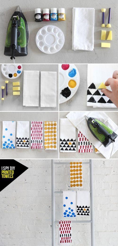 DIY | Toalha de cozinha estampada