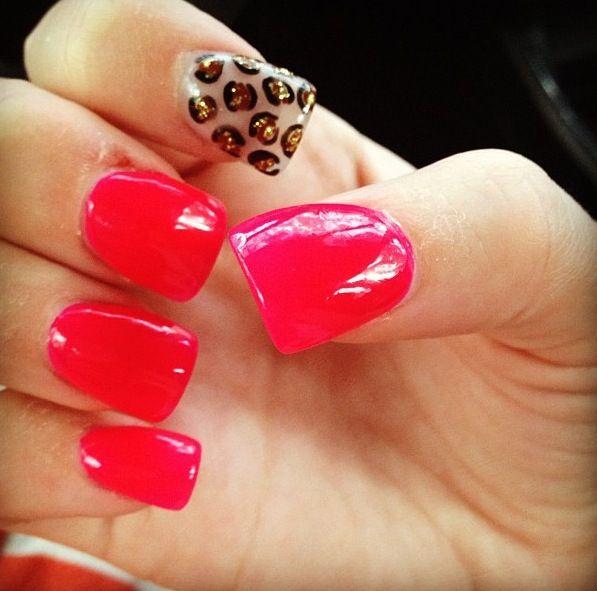 red cheetah nails ! | See more nail designs at http://www.nailsss.com/...