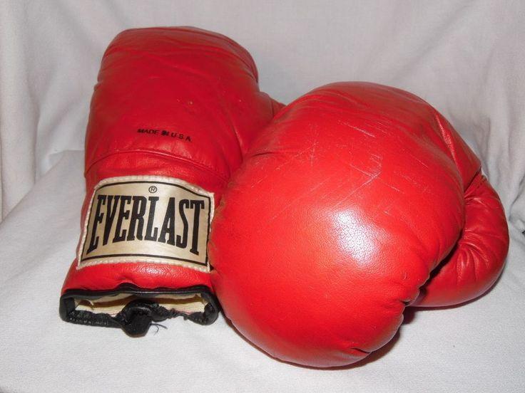 VTG Made in USA RED Everlast Boxing Gloves 16  #Everlast