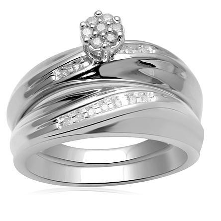eternal treasures 17ct sterling silver womens diamond bridal set - Kmart Wedding Ring Sets
