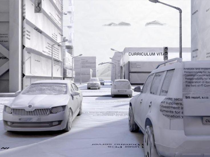 'n Wêreld geskep uit 'n CV in Luma se Skoda-advertensies