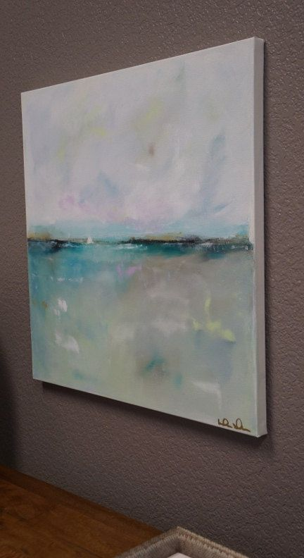 Blue Grey Turquoise Seascape Painting Original Art by lindadonohue
