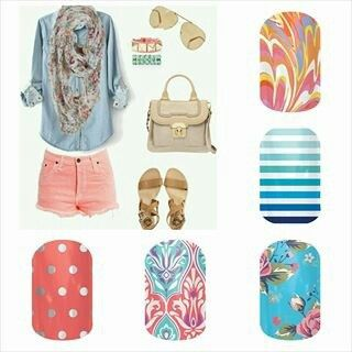 Fun Jamberry nail wrap combos to match your spring and summer outfits! Click the image to order! B3G1 PM me on Facebook for a FREE sample! Sharron Chatham - Jamberry Independent Consultant