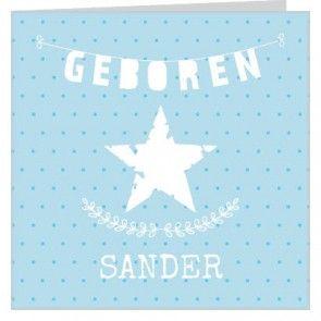 Silhouet #geboortekaartje voor een jongen met blauwe stippen achtergrond en witte slinger #ster en ornament.  Maak het jouw eigen kaartje door het aan te passen met eigen tekst en bijpassende afbeeldingen uit onze beeldenmap op www.babyboefjes.nl. Direct het kaartje bewerken: http://www.babyboefjes.nl/geboortekaartje-01-1-0450.html