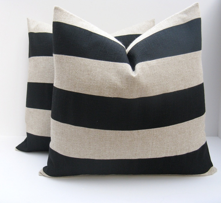 Throw pillow covers 18x18. Black Pillow.Black and Tan Pillow.Burlap Pillow. Decorative Pillows. Cushions.Printed Fabric both sides. $38.00, via Etsy.