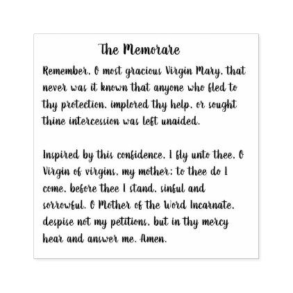 The Memorare of the Blessed Virgin Mary Rubber Stamp - diy cyo customize gift idea personalize