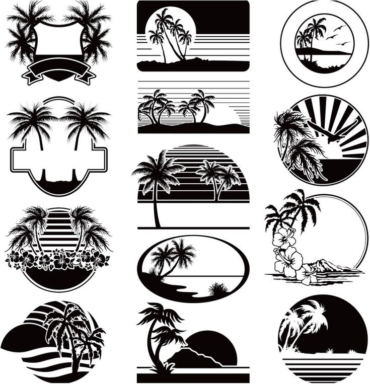Summer vacation labels vector Beach silhouette