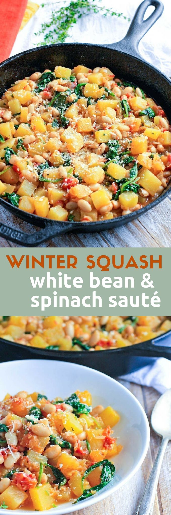 Winter Squash, White Bean & Spinach Sauté is a tasty meal perfect on a cold night. This winter squash dish is ideal for a Meatless Monday meal.