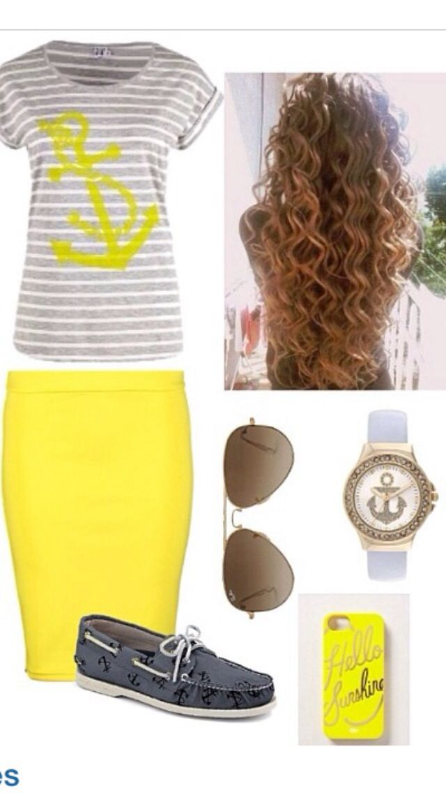 Love the grey and yellow combo! Plus a striped shirt...my favorite