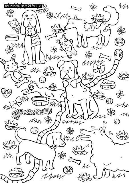 OPTIMIMMI | A free coloring page of dogs and toys / Ilmainen värityskuva koirista ja leluista