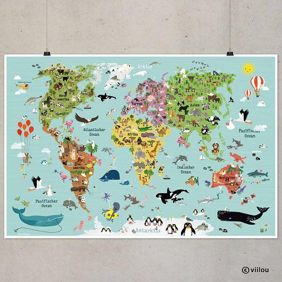 Kinderweltkarte Poster Kinderzimmer Illustration illustrierte Weltkarte für Kinder XXL Tiere Kontinente Plakat Kids Bilder Wanddekoration – Home is Love – Playroom