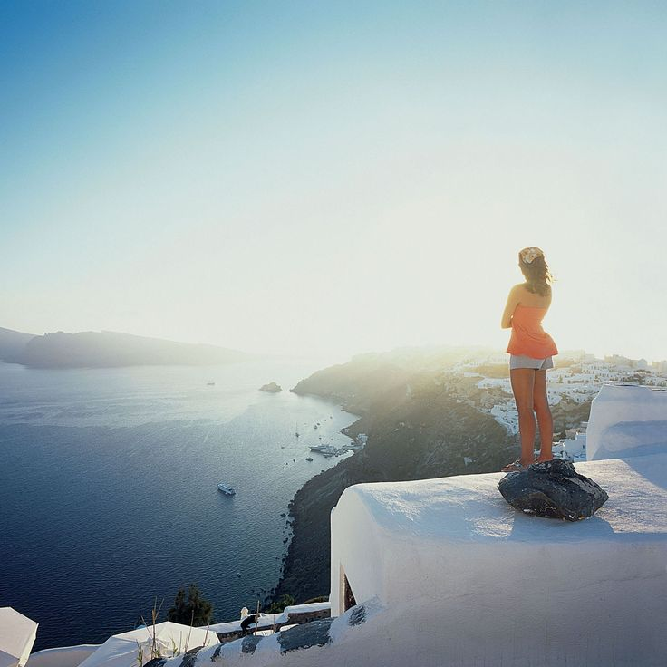 View of Oia from a rooftop in Imerovigli, Santorini, Greece... ❄