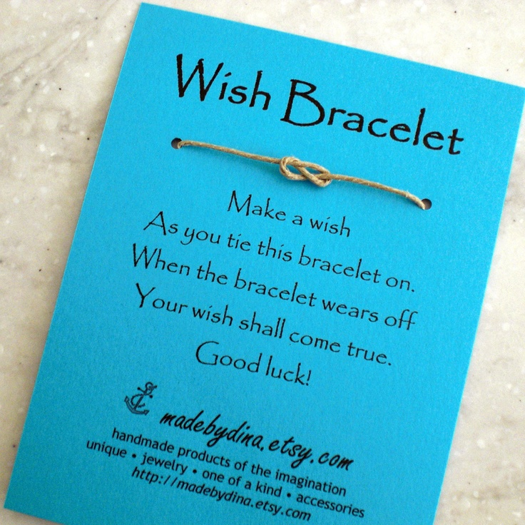 """Sailor Knot WISH BRACELET - Shades of Blue - Wedding Favor Party Favor on Blue Cardstock. $1.75, via Etsy.     I like the idea more than the """"package""""- corny."""