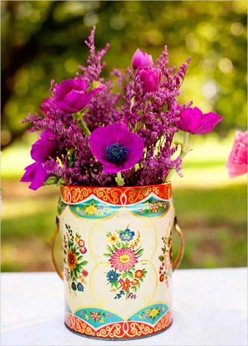 flowers in vintage can