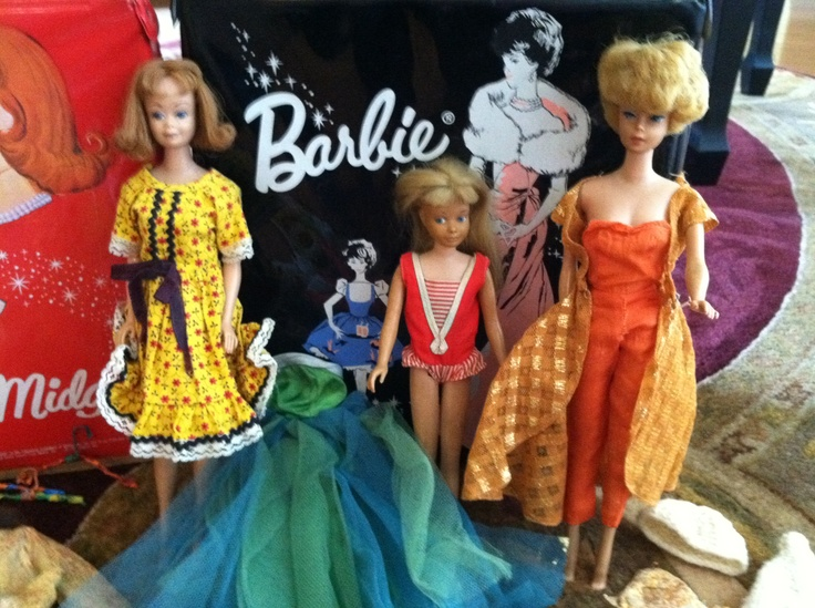 My original Barbie dolls - My second Barbie doll was just like the one on the right with bouffant hairdo. This one actually had hair.