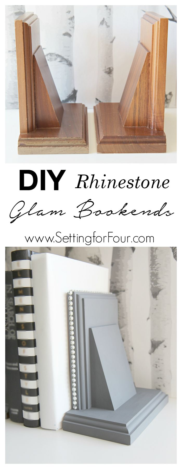 DIY home decor on a budget - How to make DIY Rhinestone Glam Bookends! See the glam makeover I gave two boring thrift store bookends using chalky finish paint and rhinestone studding! Great gift idea. www.settingforfour.com