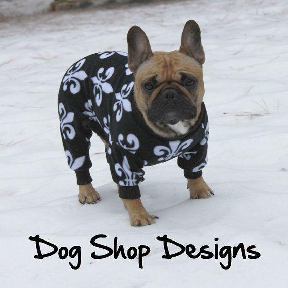 Black And White Fleur De Lys Print Dog Fleece Frenchies
