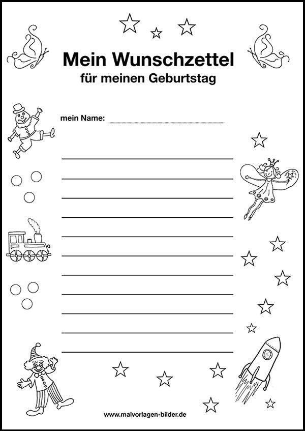 Wunschzettel Zum Ausdrucken Kostenlose Vorlage Zum Geburtstag Malvorlagen Zum Ausdrucken Wunschzettel Vorlagen