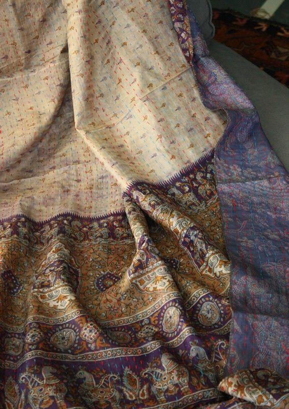 Scialle o tessuto d'arredo trapuntato in seta indiana doublefaces - Diwali Store