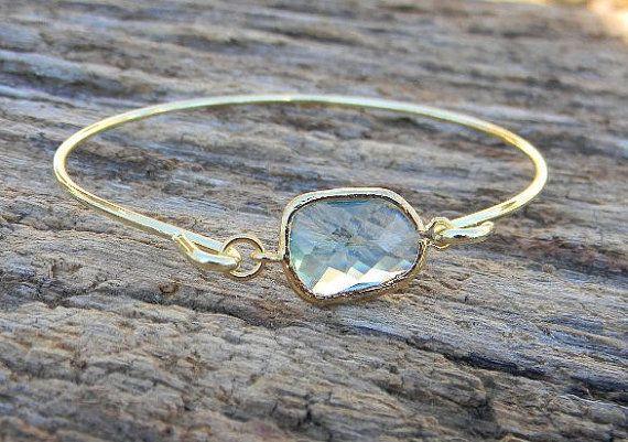 Gold Bangle Bracelet / Aquamarine Bracelet / by Greenperidot