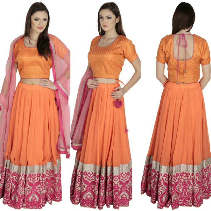BRIGHT ORANGE LEHENGA. PINK PATCH WORK ON SILVER BASE ON BORDER. Now available at a fraction of its original cost. #bewise #rentyourfashion #rentfromftheramp #myotr #OffTheRamp For more details and designs please visit offtheramp.com or call 8447158533.