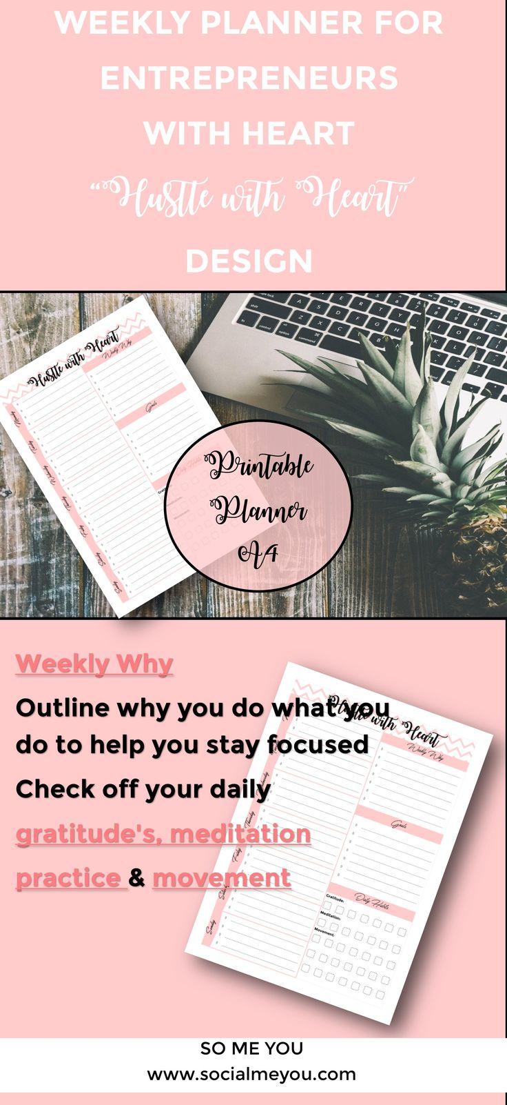 Weekly Planner Printable, Entrepreneur Weekly Planner, Printable Hustle with Heart Planner, Weekly Planner 2017, Set Goals, To Do List