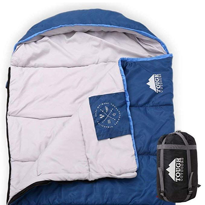 Tough Outdoors All Season Hooded Xl Sleeping Bag With Compression Sack Perfect Compression Sleeping Bag For Backpacking Camping Big And Tall Sleeping Bag Compression Sacks Cold Weather