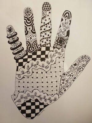 Je hand omtrekken en met fijnschrijver inkleuren met allerlei motiefjes. ( motieven ?: google zentangle art)