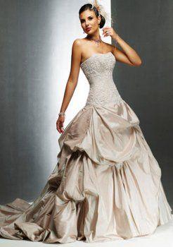 Treno taffettà abiti da sposa colorati in pizzo