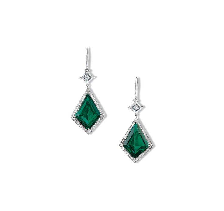 Each kite shaped emerald drop weighing approximately 4.07 and 4.37 carats respectively, within brilliantcut diamond surround, suspended from a lozenge-shaped diamond surmount, mounted in 18k white gold. Accompanied by the report no. 13048086 and 13048087 dated 27 April, 2013 from Gubelin stating that the 4.07 and 4.37 carat emeralds are of Colombia origin, with no indications of clarity enhancement.