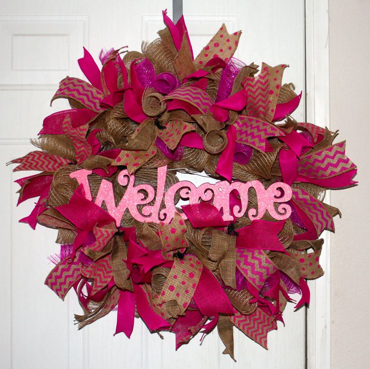 Burlap pink welcome sign MADE BY LW