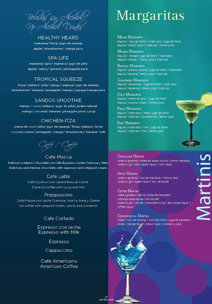 Here is the Sandos Caracol Eco Resort & Spa drink menu for coffee, margaritas, healthy drinks, and martini's. These drinks are included in the Sandos all inclusive package. Those visiting Sandos as a timeshare vacation promotion prospect also get all you can drink from this menu!
