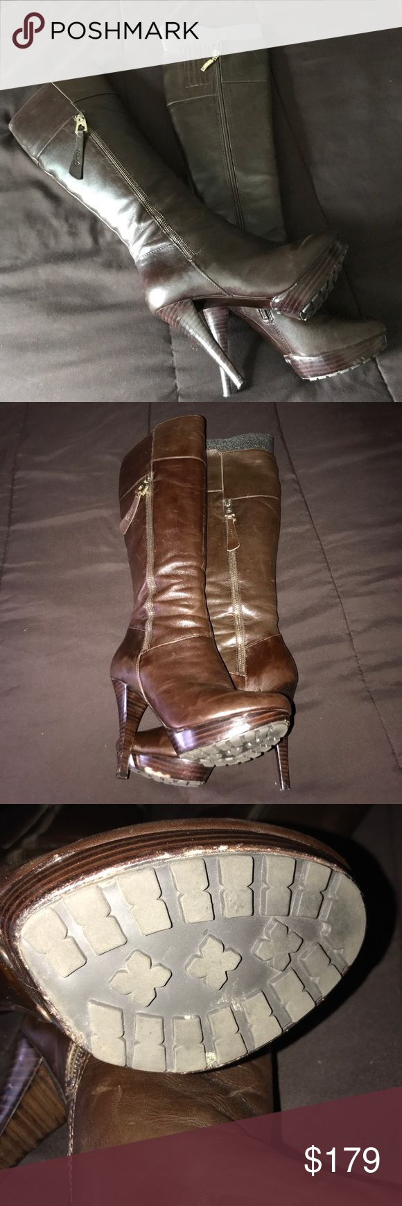 "Stunning Brown Leather Boots Gorgeous over the knee boots with gold zipper pulls. Approximately 4"" heel with about a 1"" platform. Zip closures from the inside and outside of boots. Signs of wear.  Scuff on outside right platform. Guess Shoes Platforms"