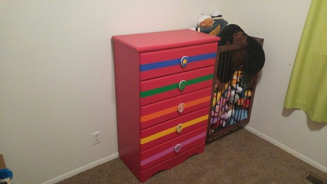 "Custom Paw Patrol Dresser, and ""Jail"" for stuffed animal storage."