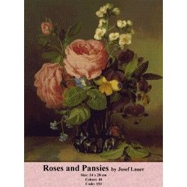 Roses and Pansies by Josef Lauer