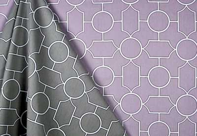 GEOMETRIC Covington Fabric & Design - Baldwin in Graphite and Lilac #Fabric