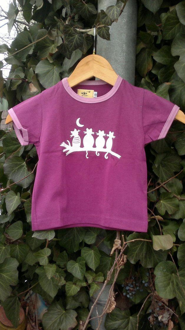 T-shirts (korte mouw) - pink T-shirt with cats - Een uniek product van milkimilk op DaWanda