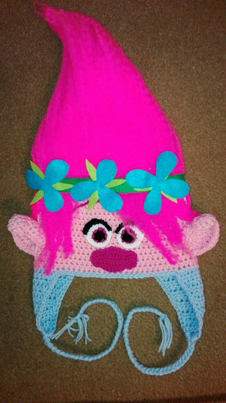 Poppy troll crochet hat