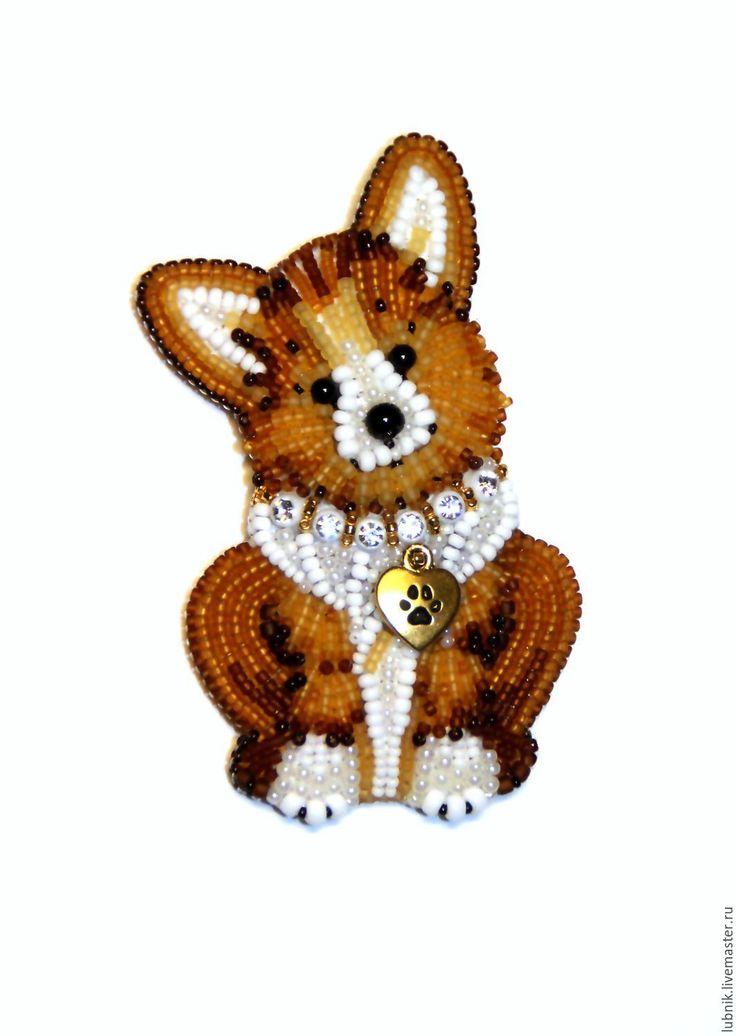 """Купить Брошь """"Ричард"""" щенок породы корги - коричневый, белый, бежевый, собака, собачка, щенок"""