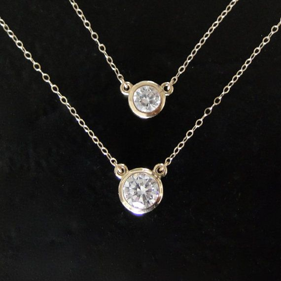 Diamond CZ Solitaire Necklace, 14K Yellow Gold or White Gold,  1 Carat or 1/2 Carat CZ  Solitaire Necklace -  As Seen On Kelly Ripa