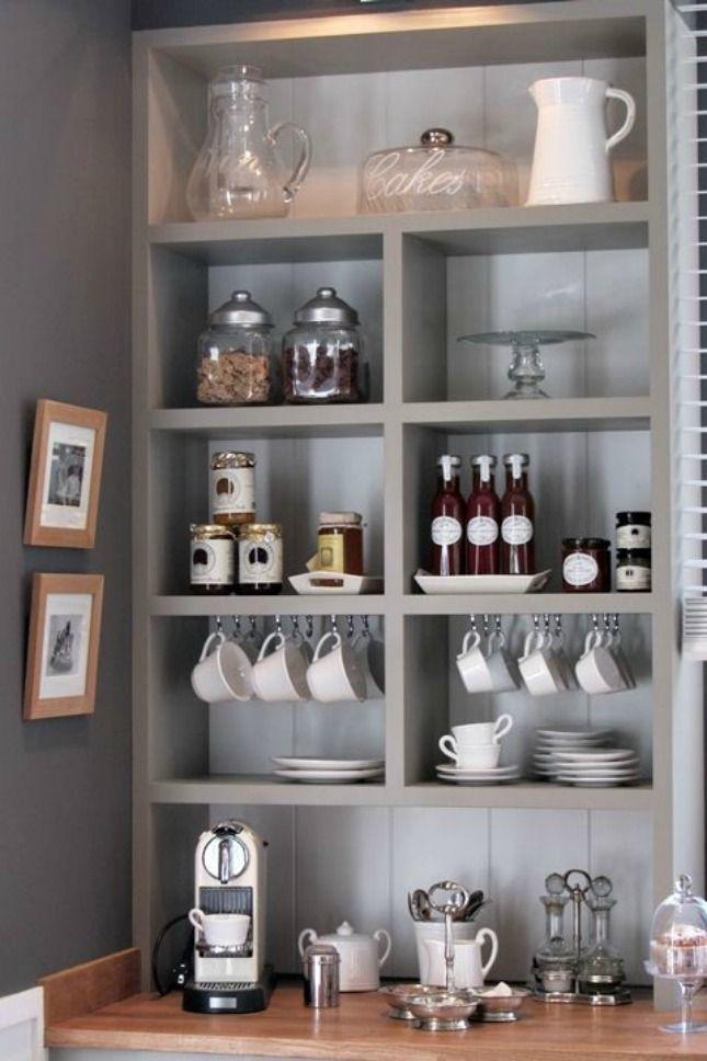 Turn unused bookshelves into a coffee bar.